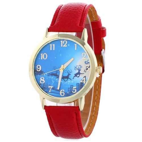 Christmas Deer Sleigh Face Faux Leather Watch - Red