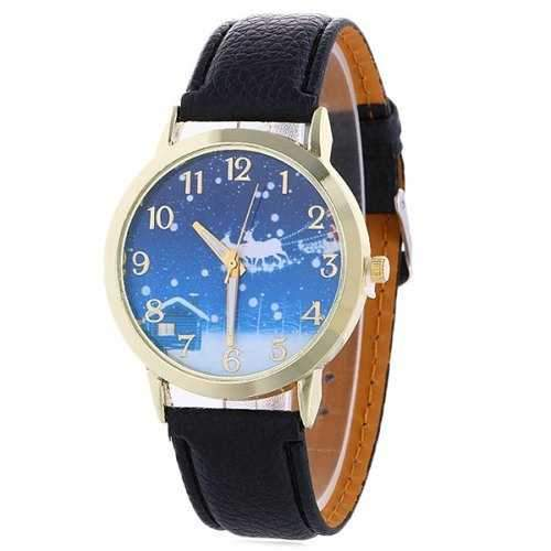Christmas Night Deer Face Faux Leather Watch - Black