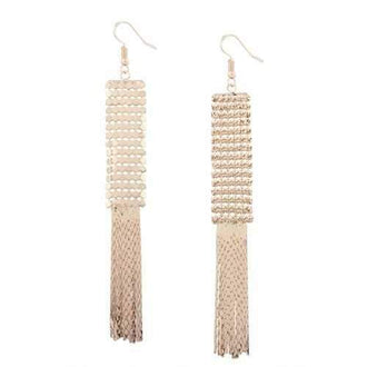 Vintage Metal Alloy Fringed Hook Earrings - Golden