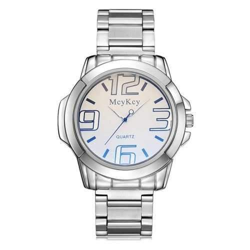 Alloy Strap Number Analog Watch - White