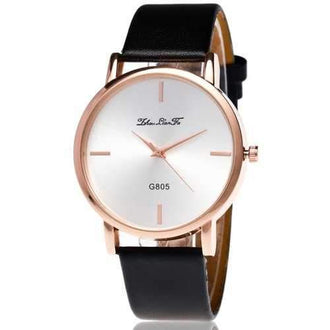 ZhouLianFa New Casual Fashion Luxury Glossy Leather Quartz Watch - Black