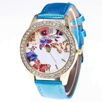 ZhouLianFa Fashionable Leather Strap Diamond Luxury Crystal Diamond Ladies Business Quartz Watch - Blue
