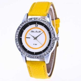 ZhouLianFa New Fashion Trend Litchi Pattern Diamond Yellow White Figure Digital Quartz Watch + Gift Box - Yellow