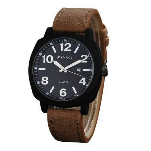 Date Number Quartz Faux Leather Watch - Brown