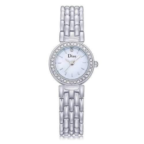 Alloy Strap Rhinestone Round Quartz Watch - Silver