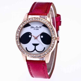 ZhouLianFaNew Fashion Crystal Grain Leather Strap Ladies Cartoon Puppy Quartz Watch with Gift Box - Claret