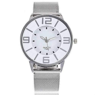 Alloy Mesh Strap Quartz Number Watch - Silver