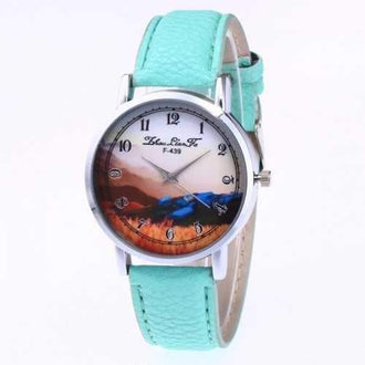 ZhouLianFa The New Brand of Luxury Lychee Grain Strap Casual Women'S Sports Watch - Mint