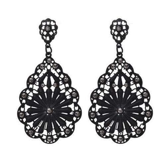 Women Girls Water Shape Diamond Hallow Drop Earrings Fashion Jewelry - Black