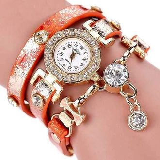 Women'S Watch Rhinestone Decorative Trendy Exquisite Preppy Accessory - Orange
