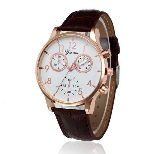 Women'S Watch Pointed Display All Match Casual Retro Style Watch Accessory - Brown Leather Band+white Dial