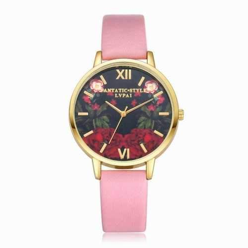 Lvpai P087-G Women Fashion Leather Band Flowers Dial Quartz Watches - Pink