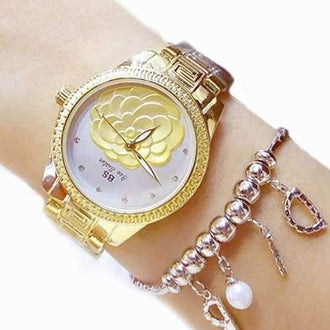 Women Fashion Luxury Sister Brand Ladies Quartz Wrist Dress Wrist Watches Girl Gift - Golden