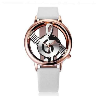 Woman Quartz Analog Hollow Musical Note Style Leather  Fashion Ladies Casual Watch Female - Multi-b