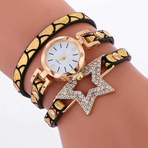 Wrap Bracelet Star Quartz Watch - Golden