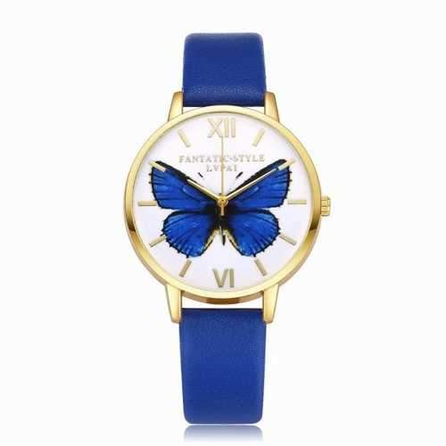 Lvpai P110-G Women Butterfly Dial Leather Band Quartz Watch Golden Tone Bezel - Royal