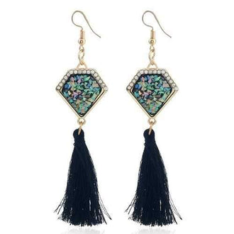 Women Girls Colorful Stone Tassel Pendant Dropping Earrings Eardrop Fine Jewelry Gifts - Black