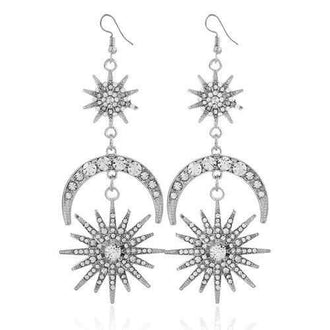 Vintage Rhinestone Inlay Star Moon Hook Earrings - White