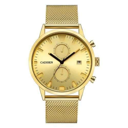 CADISEN Men  Stainless Steel Watch - Golden