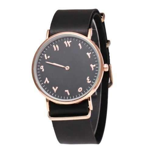 Round Dial Faux Leather Watch - Black