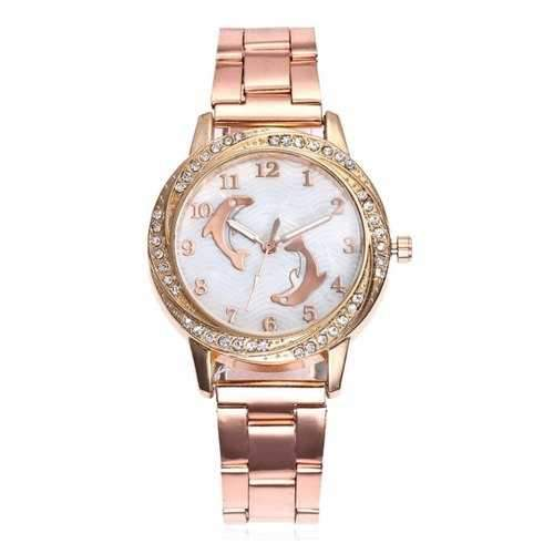 Alloy Strap Rhinestone Dolphin Face Watch - Rose Gold