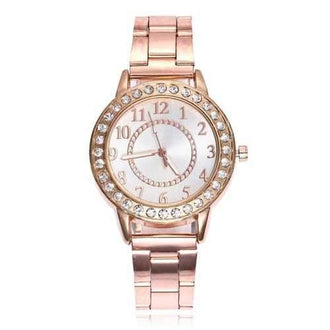 Alloy Strap Rhinestone Number Round Watch - Rose Gold