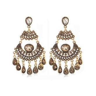 Vintage Rhinestone Inlaid Hollow Out Drop Earrings - Gold