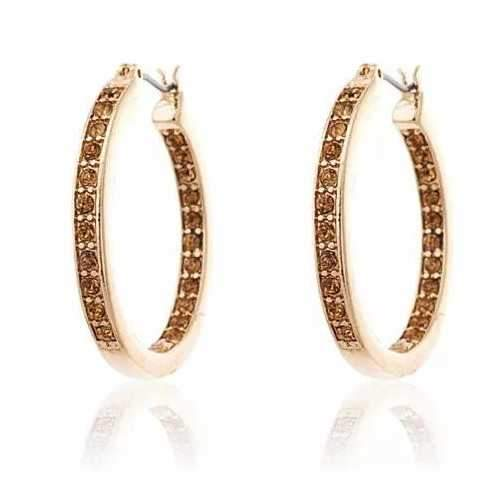 Champagne Dreams Inside Outside Pave Hoop Earrings
