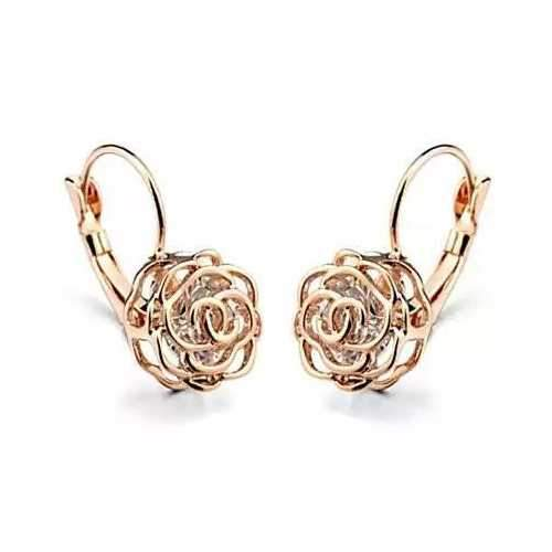 ROSE IS A ROSE 18kt Rose Crystal Earrings In White Yellow And Rose Gold Plating