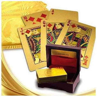 Our WIN! WIN! 24 kt Gold or Silver Plated playing cards in a laminated Jewel box