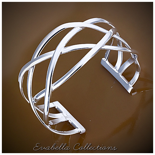 XO Cuff Style Bracelets polished in Silver