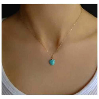 Turquoise Heart Pendant with Chain