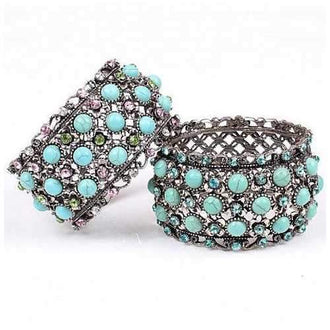 Timeless Turquoise and Crystal Bangle Bracelet in Vintage Style