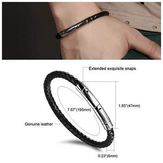 VERGO Versatile Genuine Leather Bracelet With Magnetic Closure For Men And Women