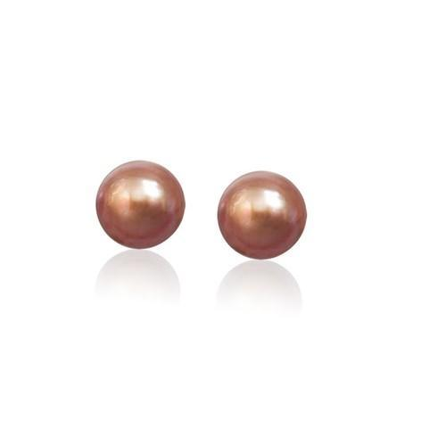 14k Yellow Gold Cultured Brown Pearl Stud Earrings (6.0 mm)