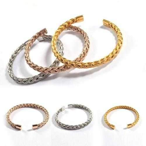 Zarina Bracelets Weaved In Rosegold Gold And Silver Finish