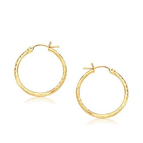14k Yellow Gold Slender Hoop Earring with Diamond-Cut Finish (25mm Diameter)