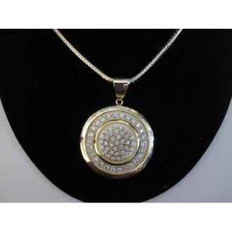 "Micropave Pendant 2 Circles with Necklace Gold Electroplated 16"" + 2"" Extension"