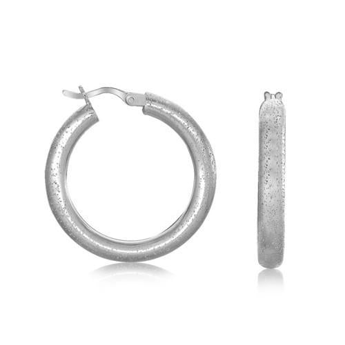 Sterling Silver Rhodium Plated Textured Hoop Earrings