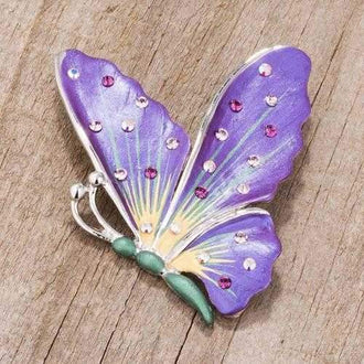 Purple And Rhodium Butterfly Brooch With Crystals
