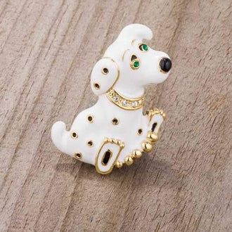 White Dalmatian Brooch With Crystals