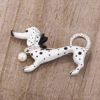 White Dachshund Brooch With Crystals