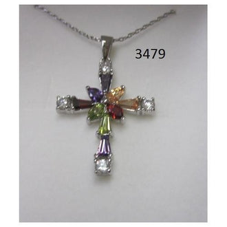 "Rhodium Plated Cross Pendant with Multi Color CZ on 18"" Chain in a Gift Box"