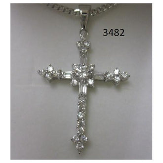 "Rhodium Plated Cross Pendant with Baguette CZ on 18"" Chain in a Gift Box"