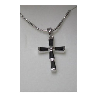 "Rhodium Plated Cross Pendant with Black Baguette CZ on 18"" Chain in a Gift Box"