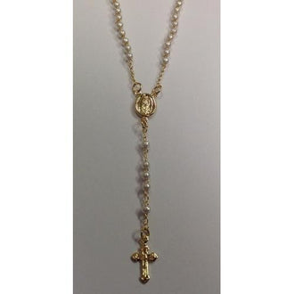 "Gold Electroplated Rosary 18""-20"" with Pearls in a Red Pouch"