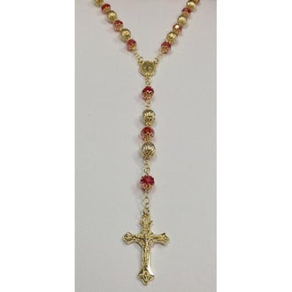"Gold Electroplated Rosary 24""-26"" with Red Colored Crystals in a Red Pouch"
