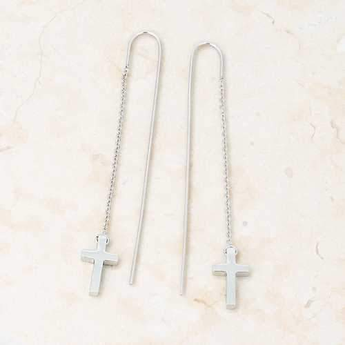 Marylou Rhodium Stainless Steel Cross Threaded Drop Earrings