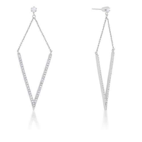 Michelle 1.2ct CZ Rhodium Delicate Pointed Drop Earrings
