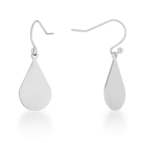 Karla Rhodium Stainless Steel Teardrop Earrings